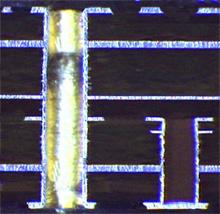 coupe NTS circuit imprimé multicouche à trous borgne